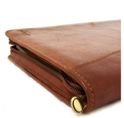 Tan Leather Zipped Conference Folder 4