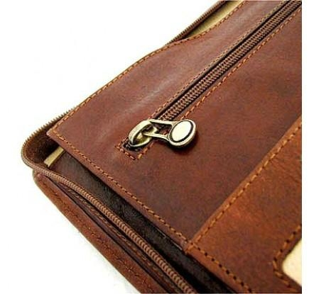 Tan Leather Zipped Conference Folder 5