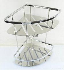 corner shelf; double; Stainless steel;