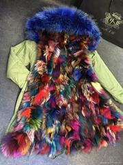 Fox Muiltcolor Fashion Real Fur Jacket,Natural Fox Fur Winter Jacket Lakeblue Re