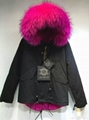 Accept Combination Factory Price fashion winter black jacket with rose red fur c 1