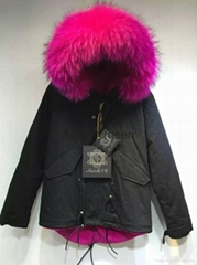 Accept Combination Factory Price fashion winter black jacket with rose red fur c
