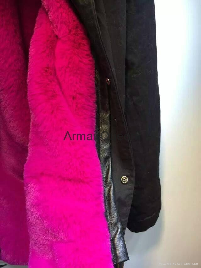 Accept Combination Factory Price fashion winter black jacket with rose red fur c 3