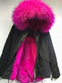 Accept Combination Factory Price fashion winter black jacket with rose red fur c 2