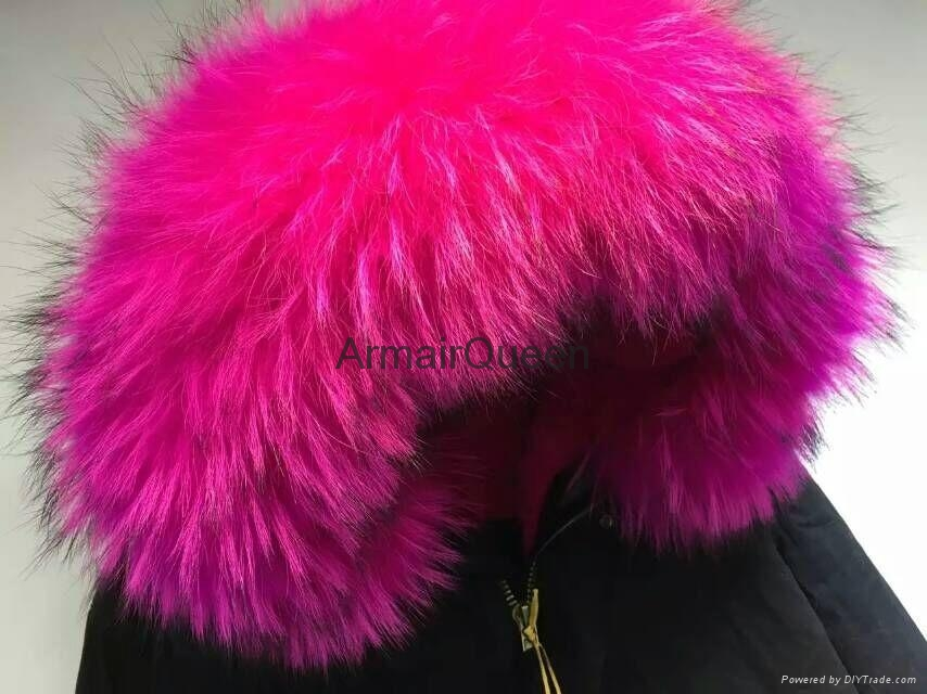 Accept Combination Factory Price fashion winter black jacket with rose red fur c 5
