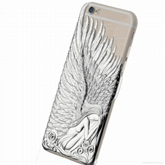 Fashion Angel Wings Electroplate Love Crazy Case Cover for iPhone 6