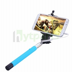 Non-battery Universal Extendable Selfie Stick with Buit-in Cable Remote Shutter