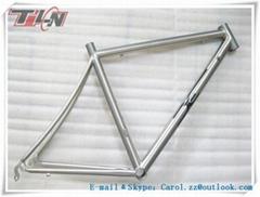Hot selling!!! 700C OEM fixed gear frame titanium bike frame with hand brushing