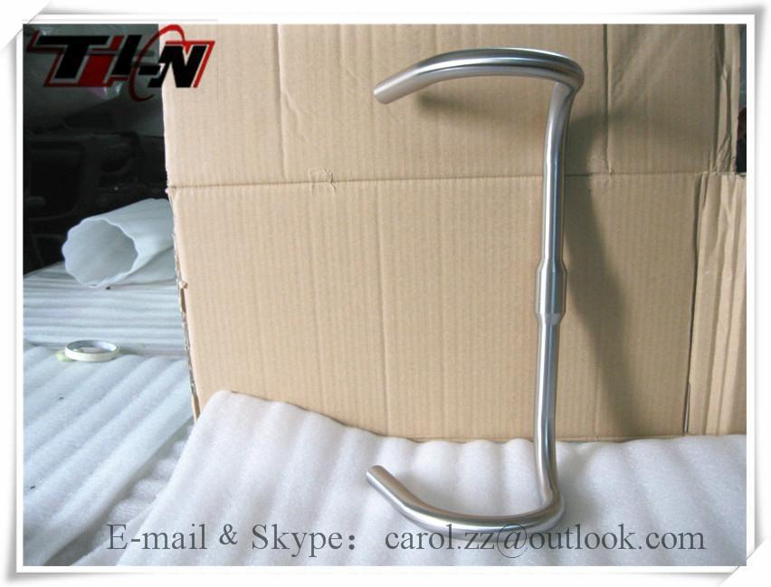 Customlized Road bike handlebar titanium with hand brushing 4