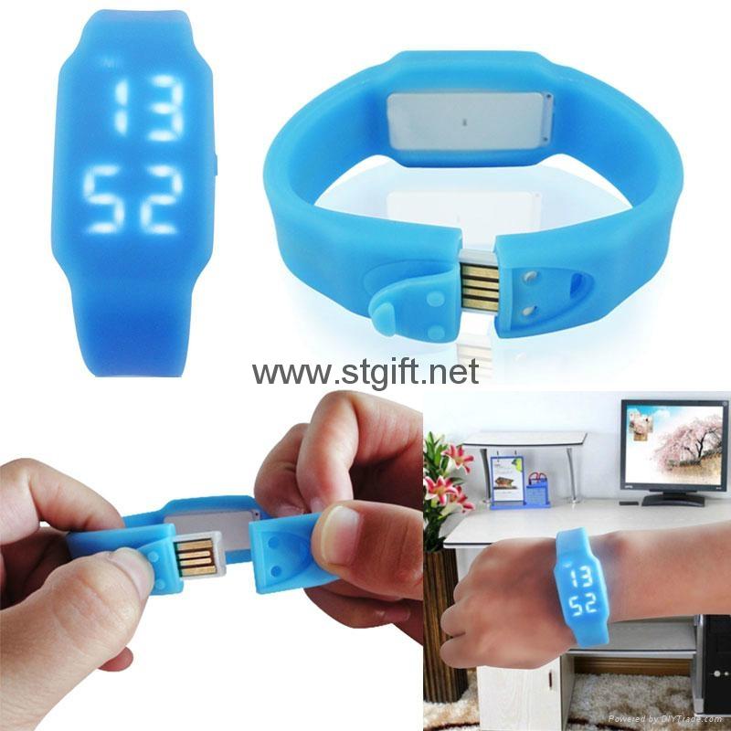 LED watch Silicon Bracelet Wristband USB 2.0 Memory Stick Flash Drive 2