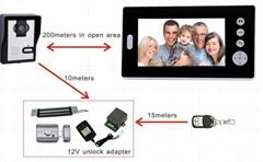 """7"""" LCD Wireless Video Doorbell Night Vision Video Intercom system"""