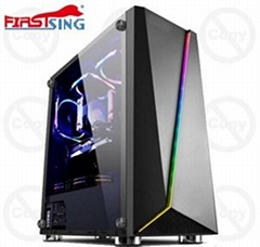 ATX Mid Tower Gaming Tempered Glass PC Computer Case With RGB light strip