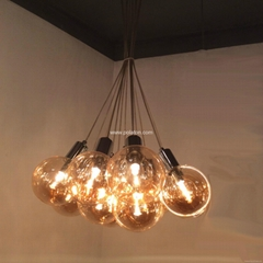 Amber glass ball shade club decorative pendant light