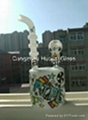 White cup with color logo bongs percolator bongs oil rigs glass bongs glass wate