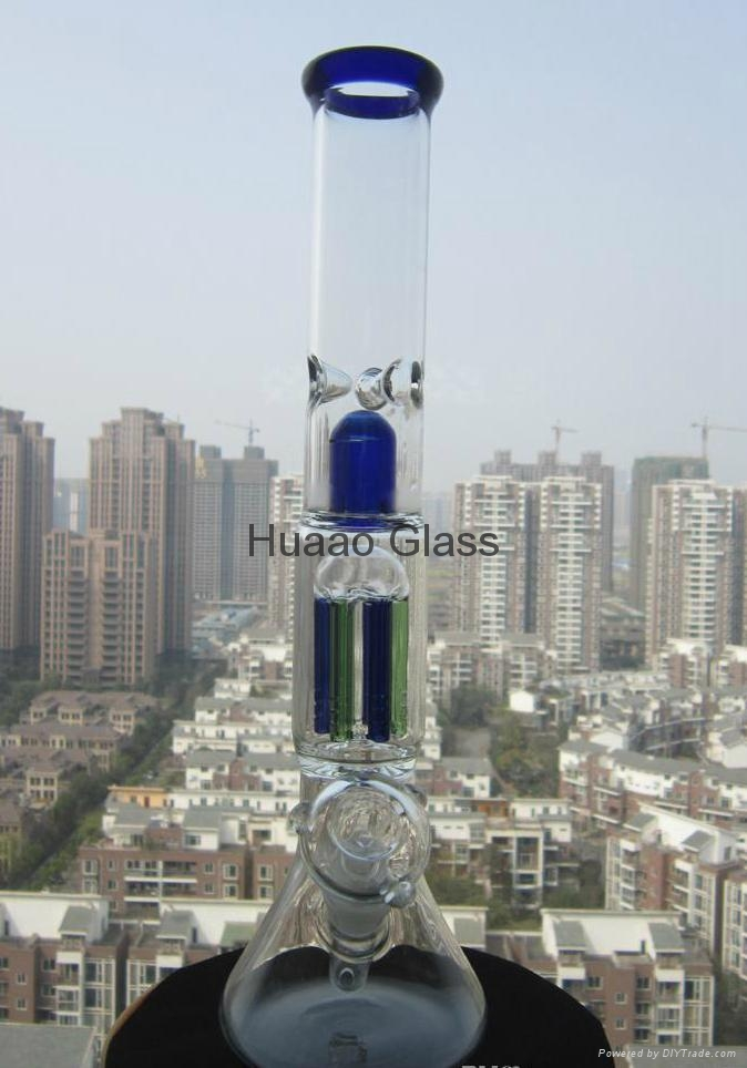 2015 New 37CM Height Glass Pipe Hand Bong Blown Glass Vase Beaker 6 arms Percola 3