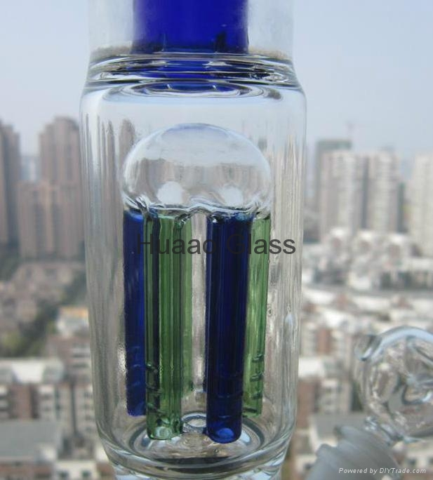 2015 New 37CM Height Glass Pipe Hand Bong Blown Glass Vase Beaker 6 arms Percola 2