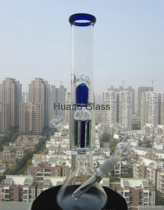 2015 New 37CM Height Glass Pipe Hand Bong Blown Glass Vase Beaker 6 arms Percola 5