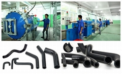 Automobile reinforced short rubber formed hose