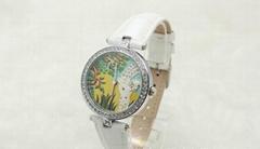 歐美時尚女款真皮防水手錶