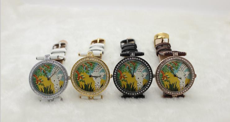 歐美時尚女款真皮防水手錶 3