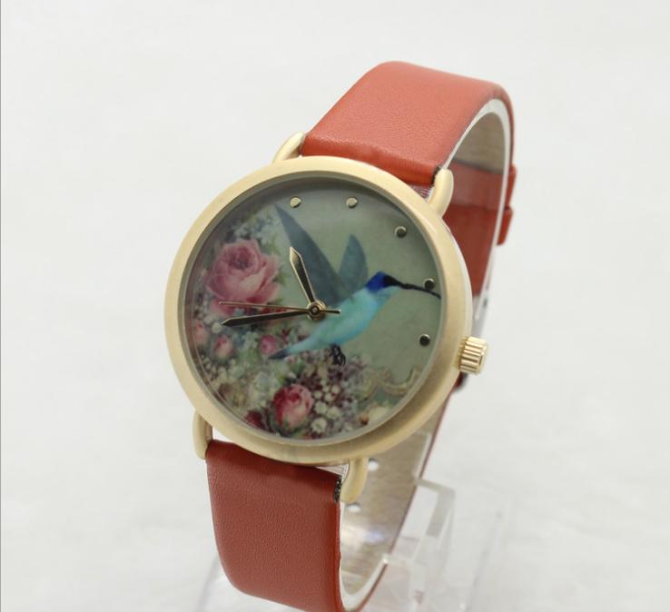 花朵小鸟图案时尚女士手表 3