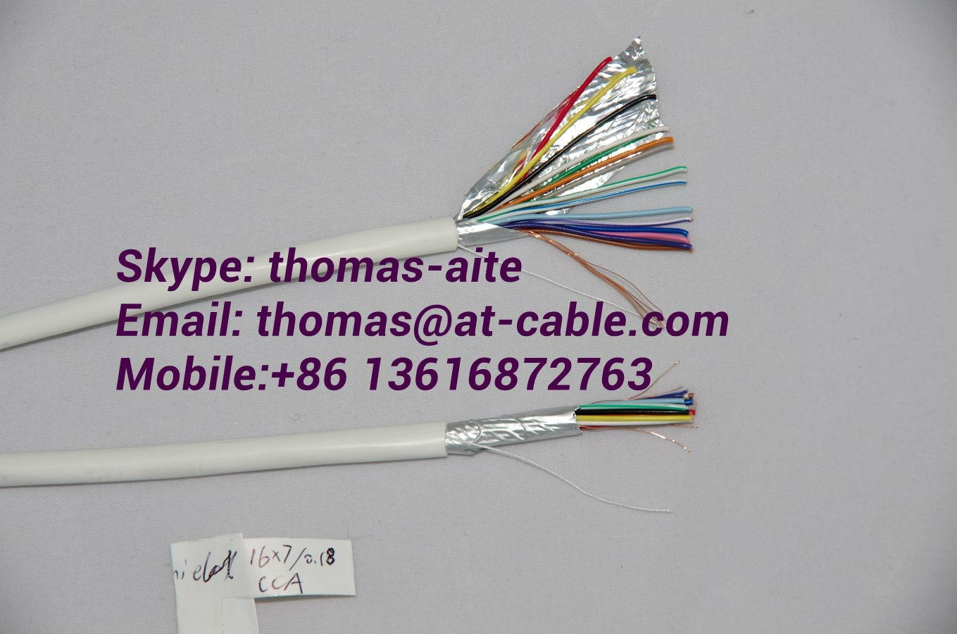 Single Shielded 0.22mm²(7*0.2BC/ TC/ CCA) Solft Security Alarm Cable