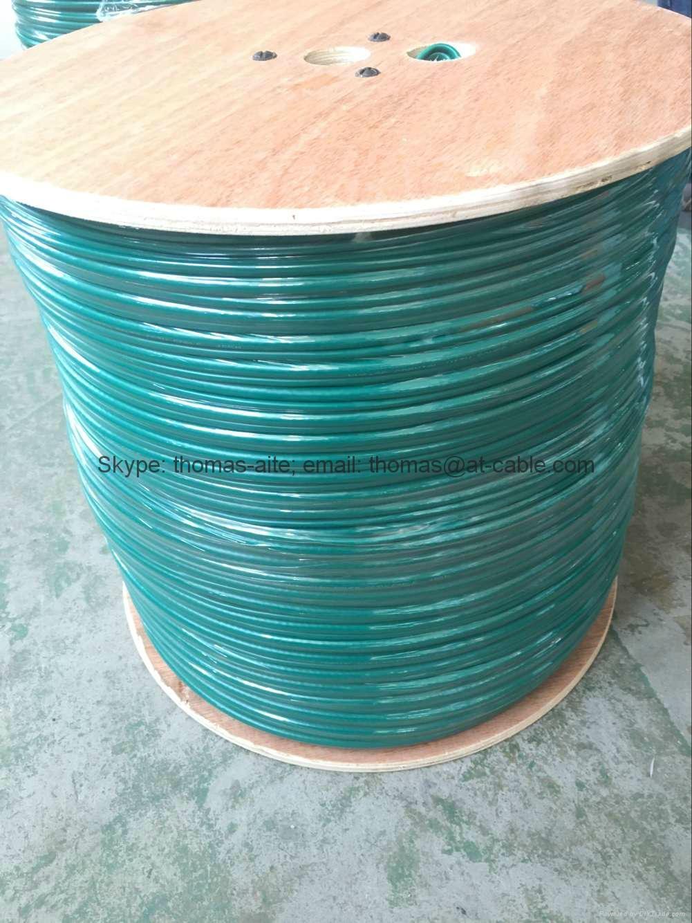 Green PVC KX6/ KX7+2Alim Power Siamese CCTV Coaxial Cable