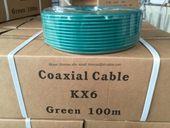câble Coaxial KX6 Green PVC Copper Stranded 7*0.2 100m/ 500m Souple CATV/ MATV