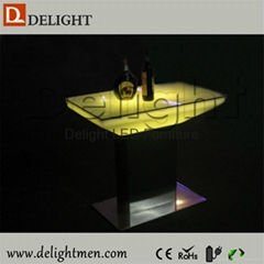 16 color changing rechargeable aluminum base led restaurant dinning table