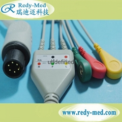 AAMI 6pin one-piece 3 leads ecg cable and leadwires,IEC,Snap/Clip