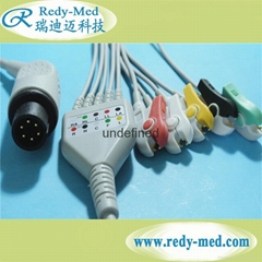 AAMI 6pin one-opiece 5 leads ecg cable and leadiwres,IEC,clip/snap