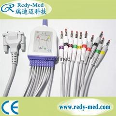 Schiller DB15pin 12 lead ecg/ekg cable,no resistorbanana 4.0