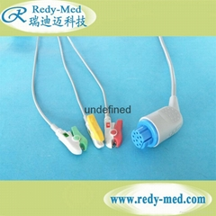 Datex 10pin one-piece 3lead ecg cable,snap/clip