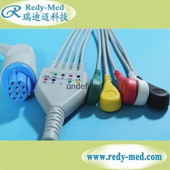 Datex Ohmeda 10pin 5leads ecg cable,snap/clip