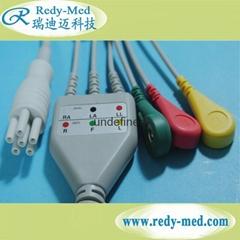 Colin one-piece 3lead ecg cable,IEC/AHA,Snap/Clip