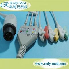 GE Critikon one-piece 6pin 3lead/5lead ecg cable leadwires