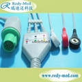 GE Hellige one-piece 3lead ecg cable