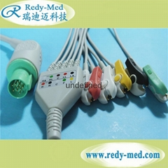 Hellige one-piece 5lead ecg cable,Clip/Snap.