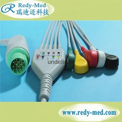 Mennen one-piece 5 lead ecg cable and leadwire