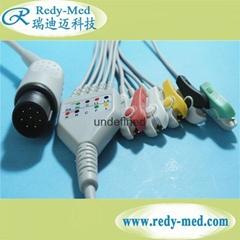 NIHON KOHDEN 8pin 5 lead ecg cable