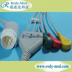 HP/Philips 8pin 3 lead ecg cable,IEC/AHA,CLIP/SNAP