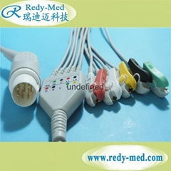 HP/Philips 8pin 5 lead ecg cable,IEC/AHA,CLIP/SNAP