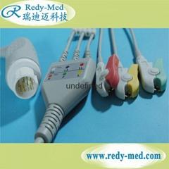 HP/Philips M1986A 12pin 3 lead ecg cable,IEC/AHA,CLIP/SNAP