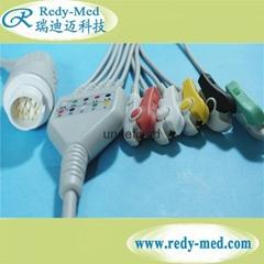 HP/Philips M1986A 12pin 5 lead ecg cable,IEC/AHA,CLIP/SNAP