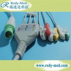 Siemens 7pin 3 lead ecg cable,IEC/AHA,CLIP/SNAP
