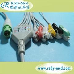 Siemens Draeger 7pin 5 lead ecg cable,IEC/AHA,CLIP/SNAP