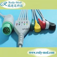 Siemens Draeger 10pin 5 lead ecg cable,IEC/AHA,CLIP/SNAP