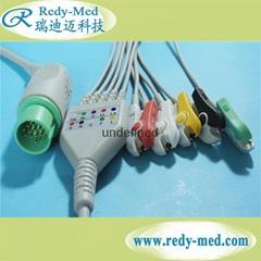 Spacelabs 17pin 3 lead ecg cable,IEC/AHA,CLIP/SNAP