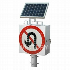 Solar powered LED traffic warning sign