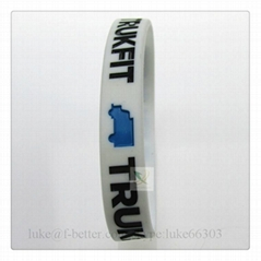 white promotinal ink filled silicone bracelet